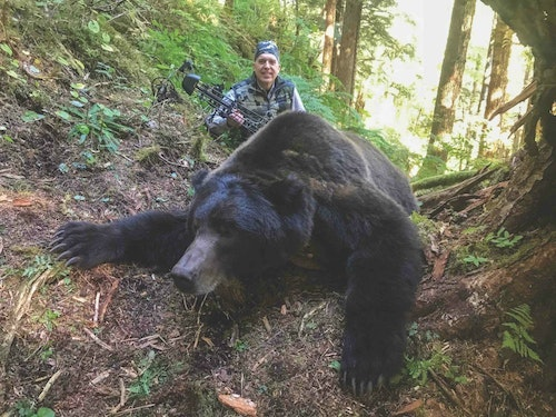 Hunting with Master Guide Scott Newman and assistant guide Craig Bisson, Lee Franklin arrowed this gorgeous Southeast Alaska brown bear that squared 8 feet, 6 inches — at only 12 yards!