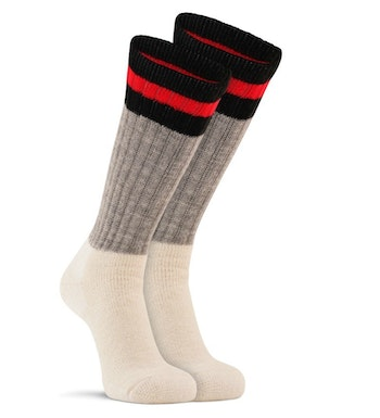 For warm feet and toes in severe cold, choose heavyweight wool socks such as the Fox River Outdoorsox. Make sure your boots are large enough to comfortably wear thick socks; cramped toes will quickly lead to cold feet.