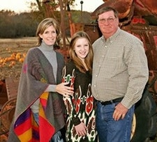 Katherine and Dallas Peebles, owners of Peebles Farm and creators of the deer-themed corn maze.