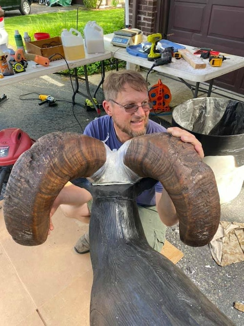 Replica world record horns being added to a Kirsch 3-D target.