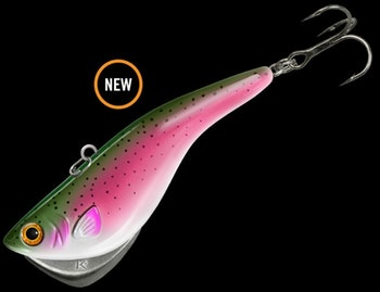 Monster walleyes in Lake Winnipeg like big lures such as the 3-inch Kamooki SmartFish. This one is in the new rainbow trout pattern.