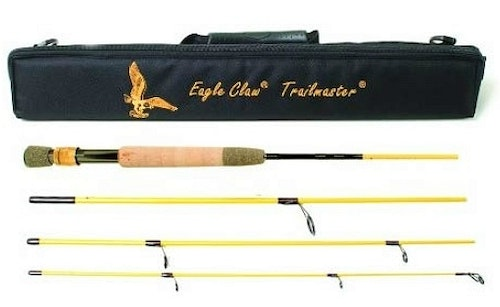 The collapsible Eagle Claw Trailmaster rod fits easily into a suitcase and extends to 7.5 feet when assembled.