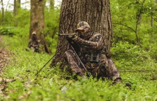 "Turkey hunters (above) obey the ""break up your silhouette"" rule, and deer hunters should, too."
