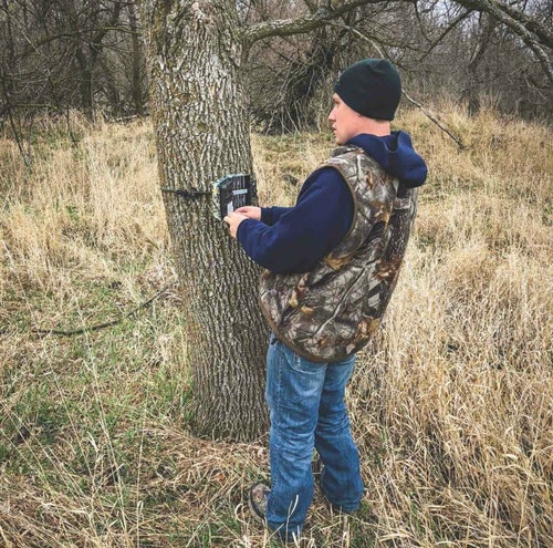 With plenty of time to scout the day before the hunt, the author and his hunting partner spent the day checking trail cameras and searching for shed deer antlers.