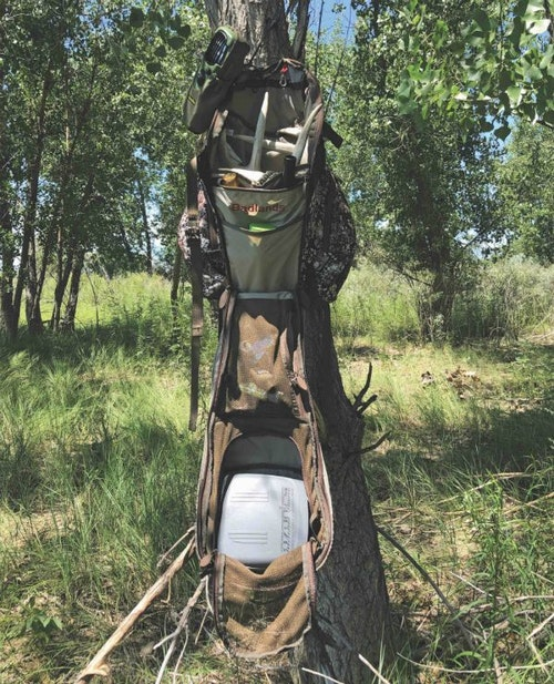 Well before opening day of deer season, take the time to get organized in the tree. Hang your favorite treestand pack and then practice storing and grabbing your rangefinder, deer calls and other gear.