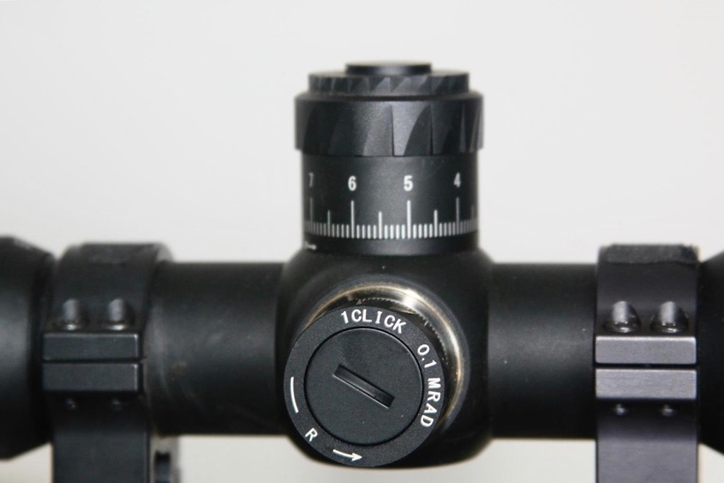 On the author's scope, click adjustments are made in MRAD, not ¼-inch as is the case with traditional American hunting scopes. That converts to roughly three clicks per inch instead of the four clicks per inch found on ¼-inch adjustment turrets. Photo: Bob Robb