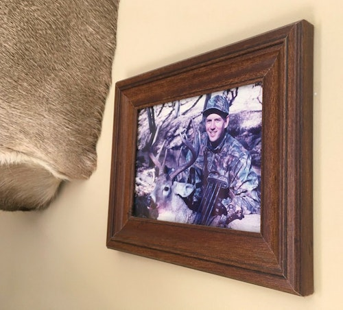The photos might fade over time, but the memories will stay fresh when a trophy mount is paired with a photo from the adventure. The photo above, and the top image, help the author remember his first mature buck from South Dakota. The mount and framed photo have hung above the television in the author's living room for nearly 20 years.