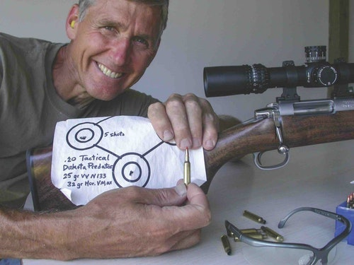 The author with proof that proper handloading can result in tremendous accuracy.