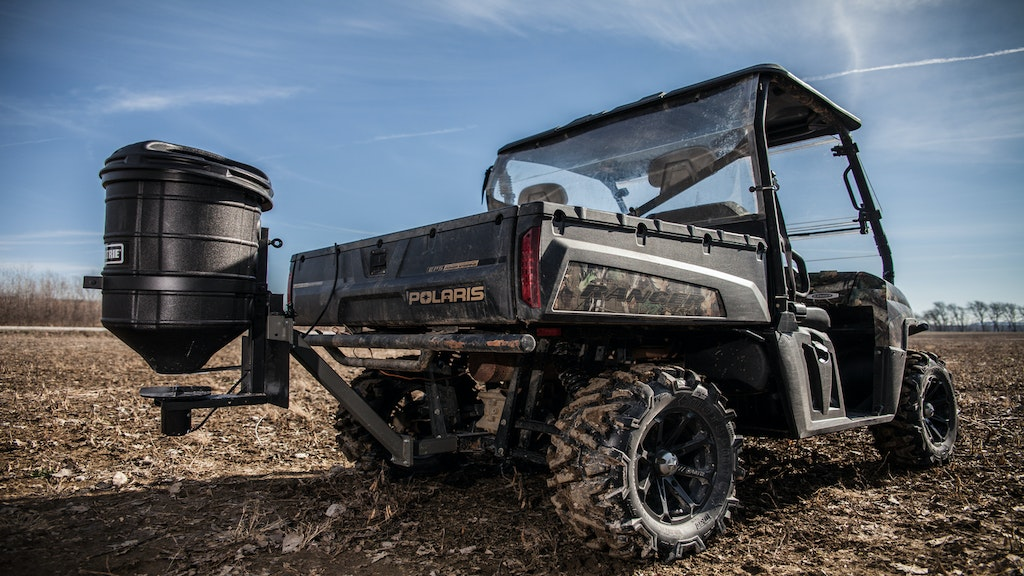 Finding the right ATV-mounted spreader for the job can be confusing, but simply finding products that have a good brand reputation might be the best approach. The Moultrie ATV Food Plot Spreader has a durable plastic hopper that holds 50 pounds of material, a heavy-duty 12-volt motor and universal mounting brackets.
