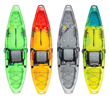 Jackson Kayak's Bite is available in four colors. From left to right, Lime-Stone, Fireball, Granite and Macaw.