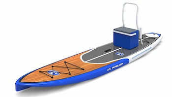 The California Board Company's 11 ft. paddleboard comes with a rod and gear rack.