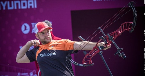 """Mike """"Mister Perfect"""" Schloesser took gold in the compound bow finals in Lausanne, Switzerland."""
