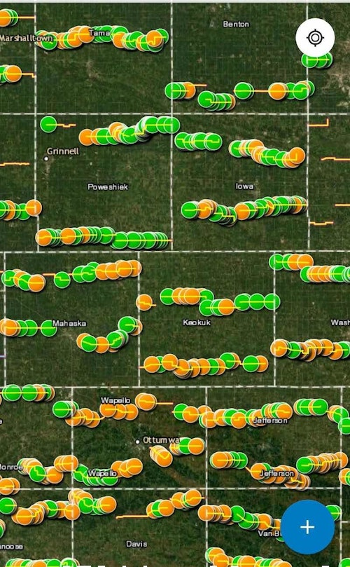 Each Iowa county has two spring deer spotlight survey routes. In the county map above (not entire state), orange dots signify whitetail sightings, and green dots signify furbearers such as fox, skunks and opossums.