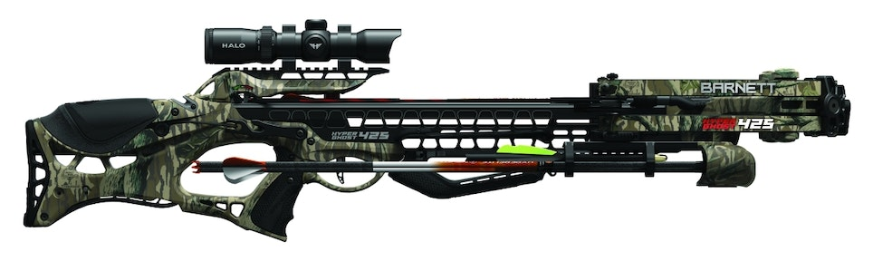 Barnett's illuminated 1.5-5X Halo scope is included in the HyperGhost 425 crossbow package.