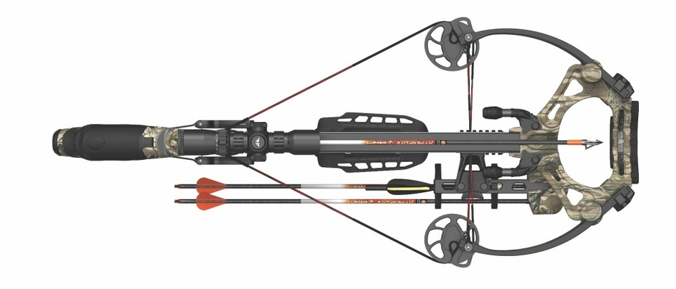 The Barnett HyperGhost 425 is 17.6 inches wide when ready to shoot.