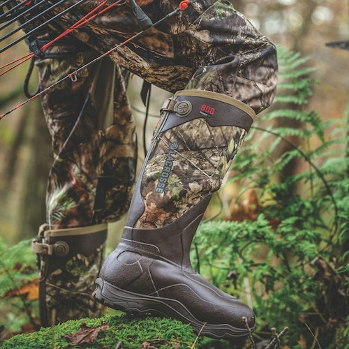 Traveling hunters often wear knee-high rubber boots to help access hard-to-reach areas.