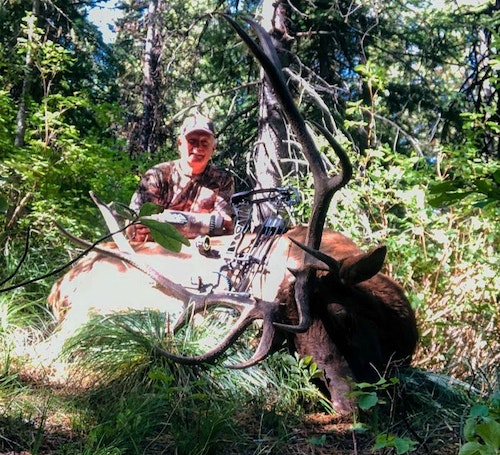 RMHC Founder Rockie Jacobsen with his early September 2019 elk. The bull responded to a Raging Bull diaphragm and the Wapiti Whacker bugle tube; shot distance, 10 yards.