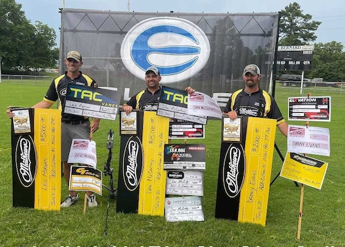At the recent ASA event in Cullman, Alabama, Team Mathews swept the Men's Open Pro division. Dan McCarthy (center) took first place, Levi Morgan (left) took second, and Danny Evans (right) took third.