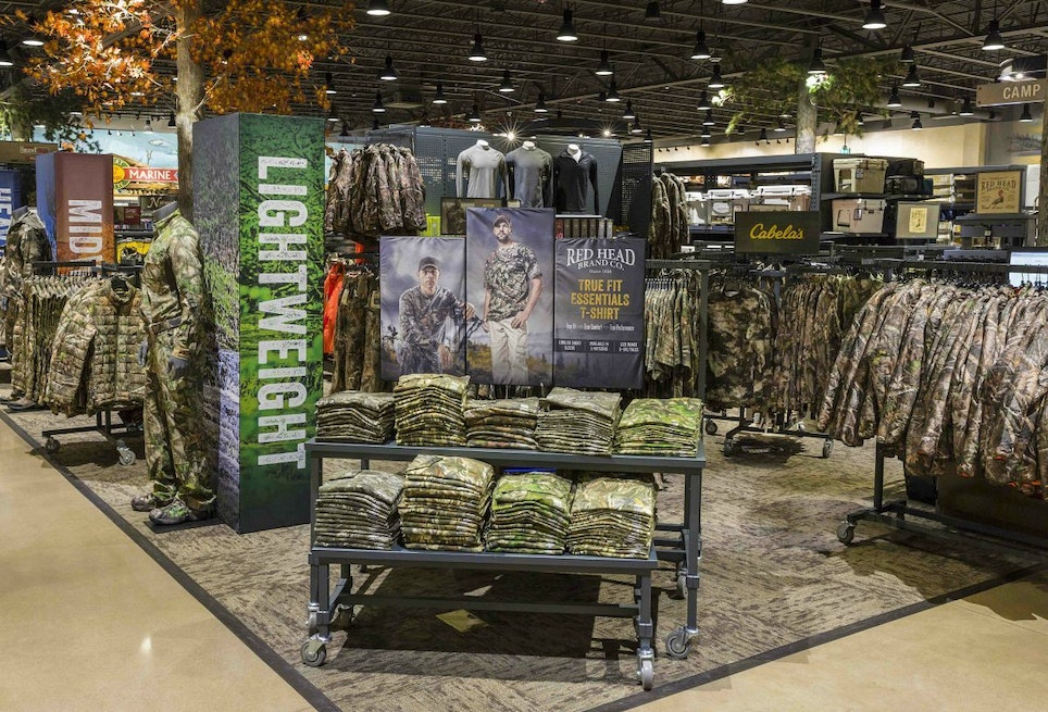 Well-organized camo clothing displays are inviting to customers.