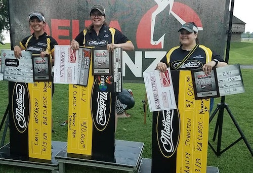 Women's Open Pro results from 2019 ASA Classic (left to right): 2nd Emily McCarthy, 1st Cara Kelly, 3rd Kailey Johnston