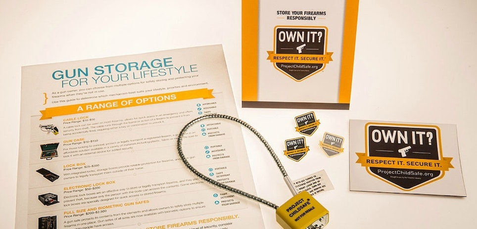 Free firearm safety kits from the NSSF's Project ChildSafe include a cable-style gun lock and safety brochure.