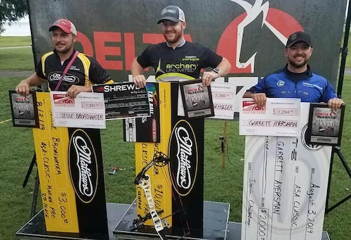 Men's Known Pro results from 2019 ASA Classic (left to right): 2nd Jesse Broadwater, 1st Robert Householder, 3rd Garrett Ayersman