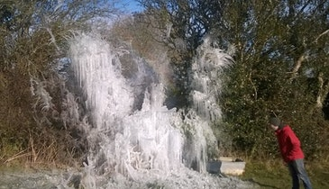 Broken Waterline Becomes Striking Ice Sculpture