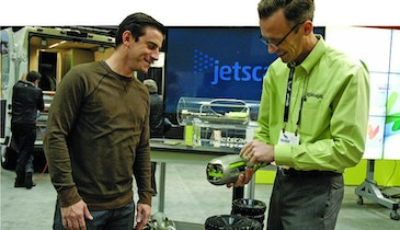 Jetter-Driven Nozzle Inspects Lines