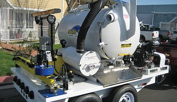 Valve maintenance trailer includes vacuum, jetter