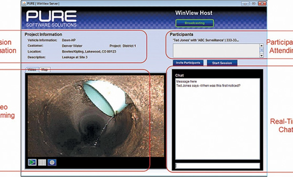 Software allows multiple parties to view pipe inspection remotely