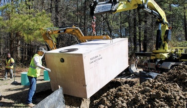 One-piece concrete tank a solution to challenging septic area
