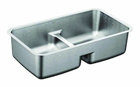 Moen low-profile divide stainless steel sinks