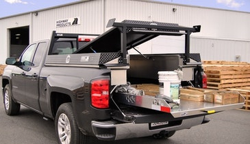 Pickup bed organizer an alternative to cargo vans and service bodies