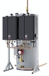 Hybrid water heating for commercial applications