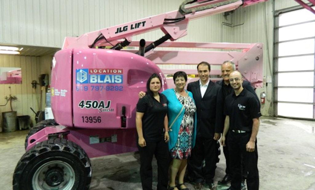 Pink Boom Lift Raises Breast Cancer Awareness