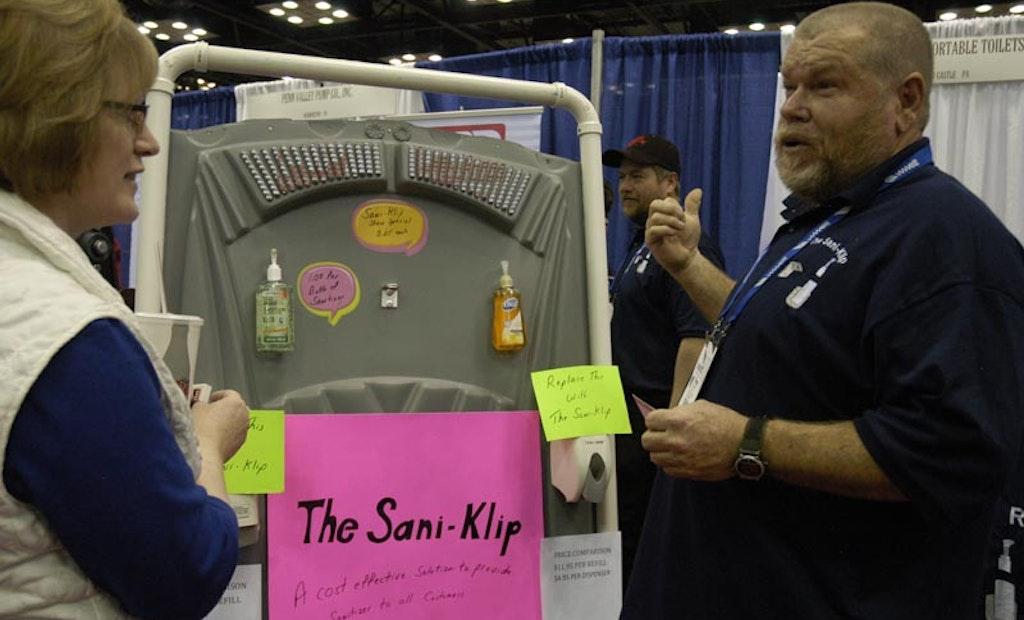 Sani-Klip Secures Common Hand Sanitizer Dispensers In Portable Restrooms