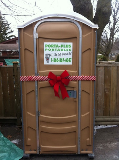 All she wanted for Christmas was a portable restroom … And a Canadian PRO was happy to oblige