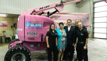 Pink Boom Lift Raises Breast Cancer Awareness