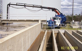 Combination truck removes sand and grit at wastewater plant