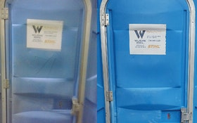 Portable restroom company uses new cleaner to remove graffiti