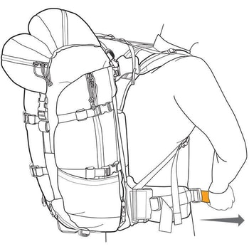 Proper pack fitting begins by loosening all straps. Situate waist belt comfortably on the hips, tighten waist belt. Tighten the shoulder straps; adjust the load lifters. Finally, adjust the sternum strap.