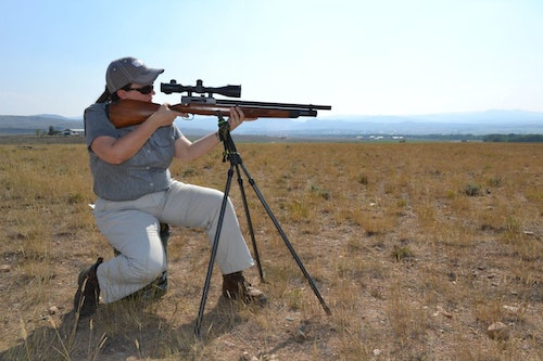 On a spot-and-stalk style prairie dog hunt with a heavy air rifle, a tripod or shooting sticks are a must. Stock a couple of different shooting stick options for your customers.