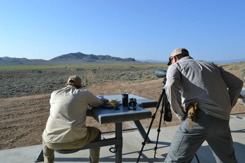 Serious long-range shooting (here, shooting at steel one mile out) requires serious equipment.