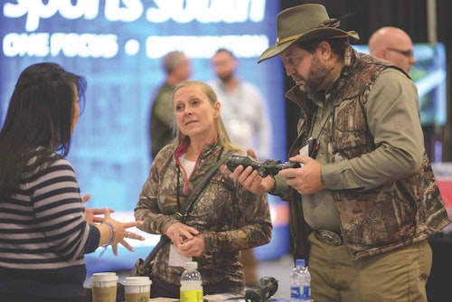Attendees of the 2020 Hunting Retailer Show enjoying one-on-one time with exhibitors.