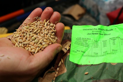 One of the more practical food plot items to carry in a local store are seed blends. Every food plot needs them.