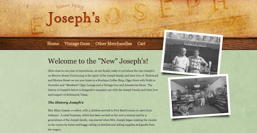 """In this screen grab of Joe's Vintage Guns' website, located in Richmond, Texas, you can see how the retailer emphasizes personality on the hompage with it's origin story and vintage photos featuring family members with ties to the business. One thing the shop could do to improve their site is to make it easier to find their phone number, email and street address. Now, that information is hidden under the """"Vintage Guns"""" menu tab. Photo: Joe's Vintage Guns"""