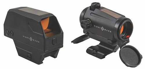 Sightmark Volta (left) and Element Mini Solar (right) red-dot sights.