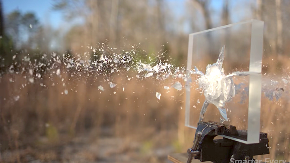 Watch What Happens Between a 50-Caliber Bullet and Ballistic Glass