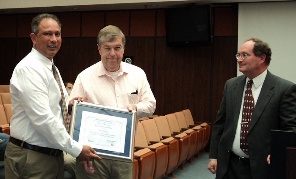 Virginia Water Department Earns 2012 Excellence in Water Treatment Plant Performance Award